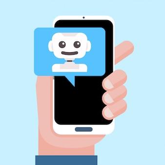Assistente pessoal inteligente, assistente virtual, bot de bate-papo, conceito de chatbot