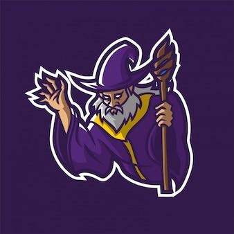 Assistente segurando o modelo de logotipo de mascote de jogo esport de equipe mágica