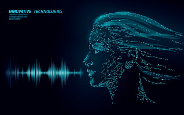 Assistente virtual de tecnologia de serviço de reconhecimento de voz. suporte de robô de inteligência artificial da ai. chatbot rosto feminino bonito ilustração em vetor baixo poli
