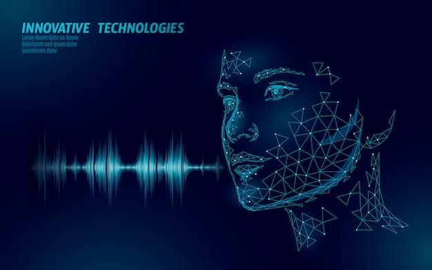 Assistente virtual de tecnologia de serviço de reconhecimento de voz. suporte de robô de inteligência artificial da ai. ilustração em vetor chatbot lindo rosto feminino