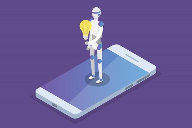 Assistente virtual on-line, conceito isométrico de bate-papo bot. ilustração.
