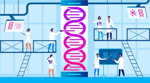 Assistentes de homem e mulher trabalham em laboratório científico.