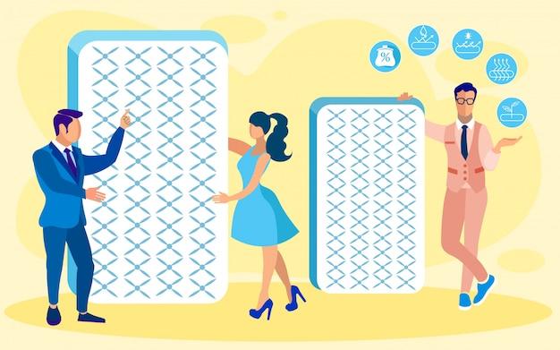 Assistentes de loja de camas e roupas de cama com colchões