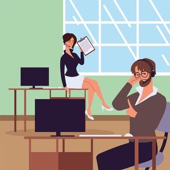 Assistentes pessoais trabalhando