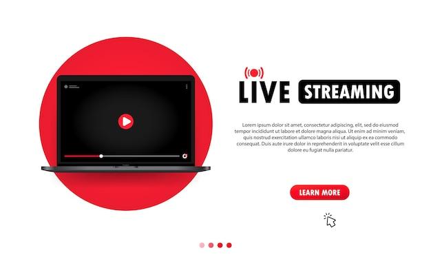 Assistindo a transmissão ao vivo na ilustração do laptop. webinar online, aula, curso. vetor em fundo isolado. eps 10.