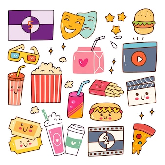 Assistindo filme kawaii doodle set