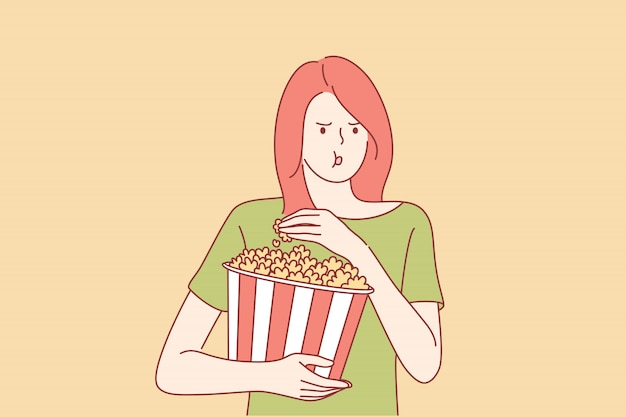 Assistindo filme no conceito de cinema