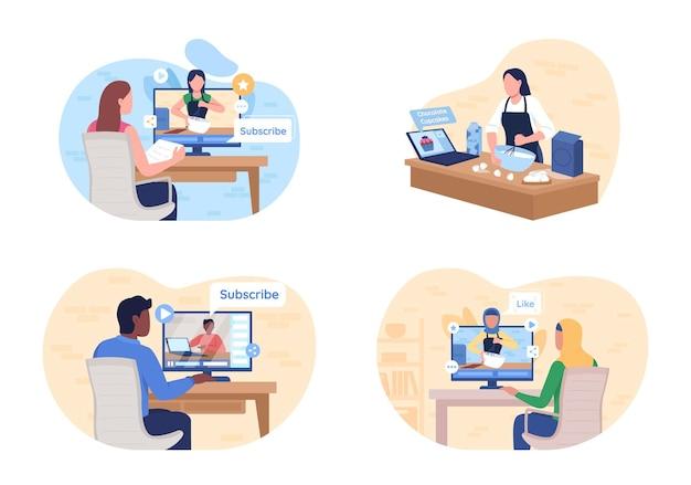 Assistindo tutorial online 2dweb banner, poster set. as pessoas assistem ao curso. e aprendendo personagens planos no desenho animado.