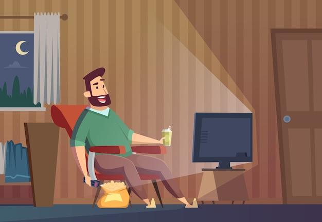Assistindo tv. homem gordo insalubre preguiçoso sentado no sofá relaxante pessoa estilo de vida sedentário assistir futebol de fundo vector. homem preguiçoso assistindo ilustração de expressão na televisão