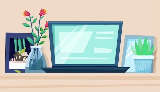 Assistindo vídeo na tela do monitor em uma mesa aconchegante