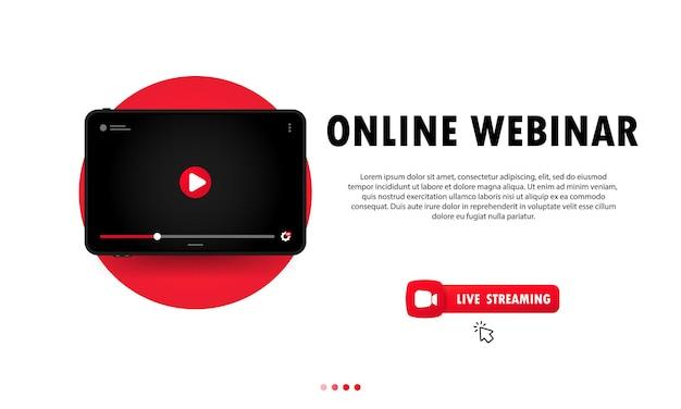 Assistindo webinar online sobre ilustração de tablet. aula online, palestra, treinamento, curso. estudando em casa. vetor em fundo isolado. eps 10.