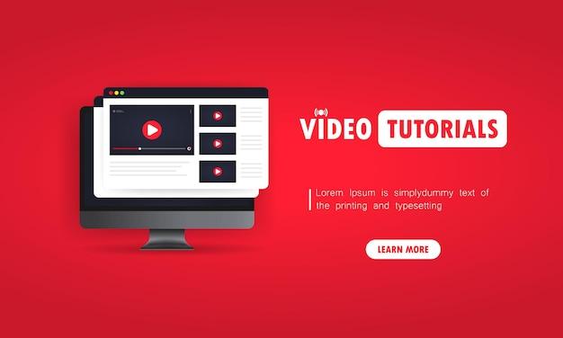 Assistir a tutoriais em vídeo sobre ilustração de computador. estudar online em casa. webinar online, palestras, treinamento. vetor em fundo isolado. eps 10.