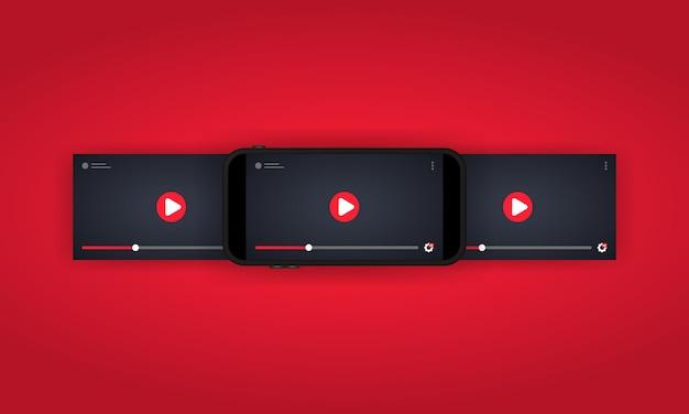 Assistir a um vídeo na ilustração do smartphone ou no reprodutor de vídeo. streaming móvel.