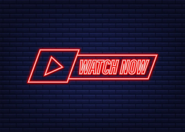 Assistir ao vivo distintivo, ícone, selo, logotipo. ícone de néon. ilustração vetorial.