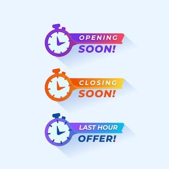 Assistir design abrindo em breve fechando em breve última hora oferecer coleção de mensagens