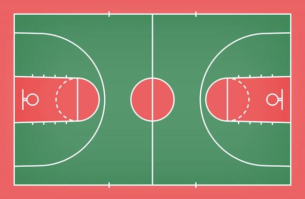 Assoalho da corte de básquete com teste padrão da linha para o fundo.