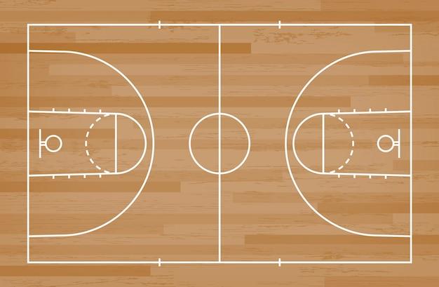 Assoalho da corte de basquetebol com linha teste padrão no fundo de madeira.