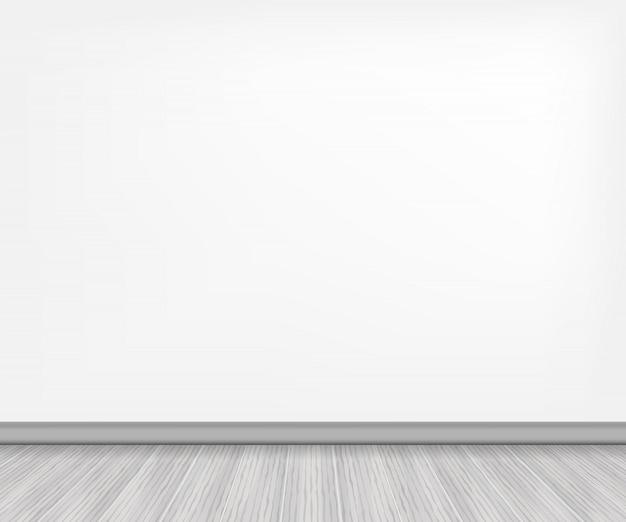 Assoalho de madeira realista e parede branca.