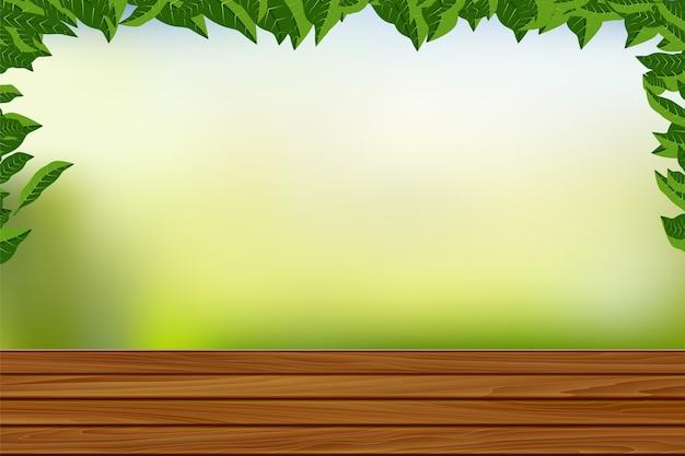 Assoalho de madeira vazio com fundo da natureza