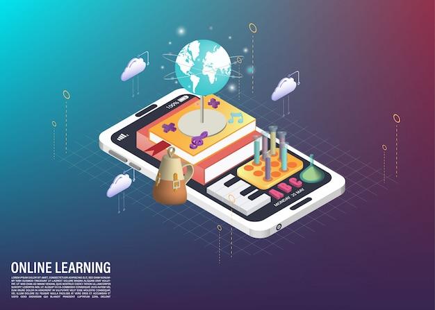 Assunto da escola e aprendizagem on-line na ilustração isométrica de celular