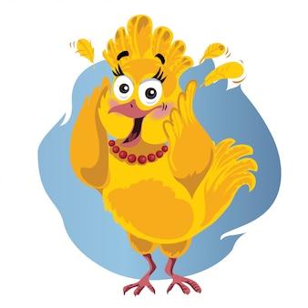 Assustado turquia vector cartoon engraçado - ilustração do pássaro de ação de graças em pânico