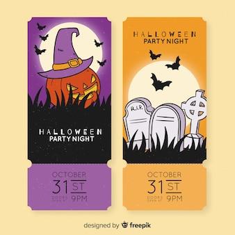 Assustador abóbora e cemitério bilhetes para eventos de halloween