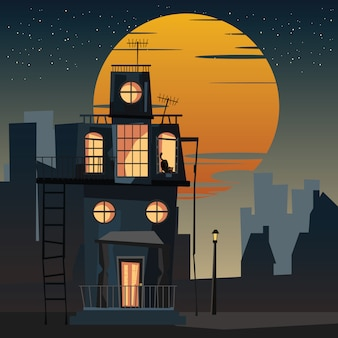 Assustador alojado e gato à noite vector illustration