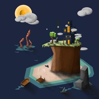 Assustador alojado na ilustração vetorial ilha