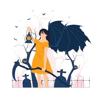 Assustador anjo da morte segurando uma foice e uma lanterna na ilustração do conceito de halloween