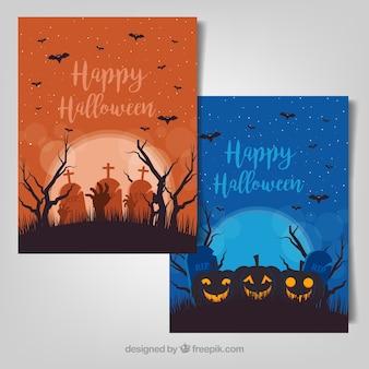 Assustador halloween conjunto ilustrações vetoriais