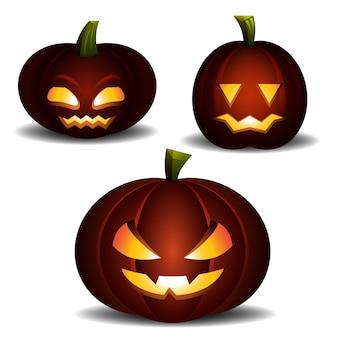Assustador halloween laranja abóbora luz. vector plana