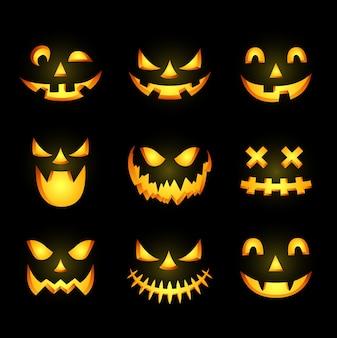Assustador ícone de rosto de abóbora de halloween