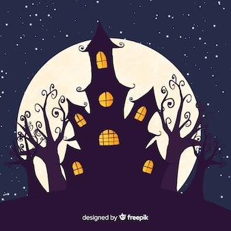 Assustador mão desenhada halloween casa assombrada