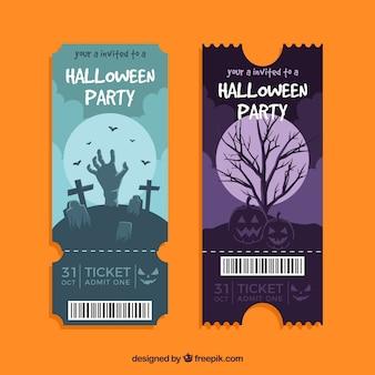 Assustador pacote de ingressos de halloween