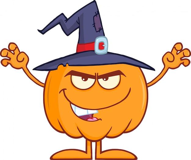 Assustando a abóbora de halloween com um chapéu de bruxa