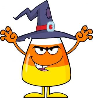 Assustando o milho de doces de halloween com um chapéu de bruxa
