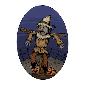 Assustar o corvo em um campo quando a noite de halloween assusta por algo