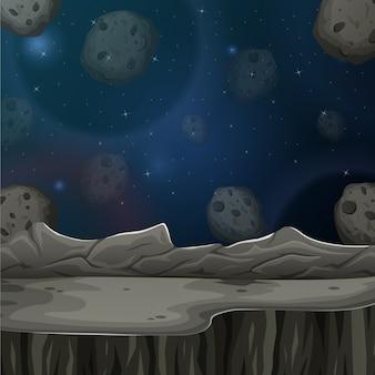Asteróides e planeta na ilustração do céu estrelado