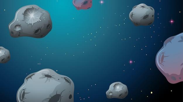 Asteróides na cena do espaço
