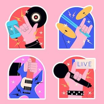 Astro do rock ingênuo e adesivos de música ao vivo