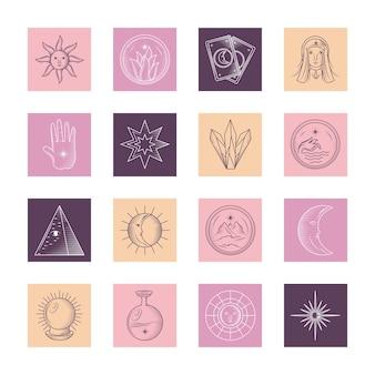 Astrologia mística, mágica, ícones esotéricos