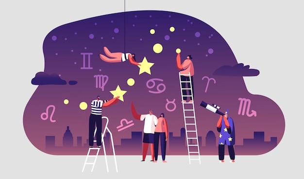 Astrólogo assistindo ao céu estrelado à noite através do telescópio. ilustração plana dos desenhos animados