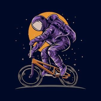 Astronauta andando de bicicleta bmx no espaço com ilustração de fundo de lua