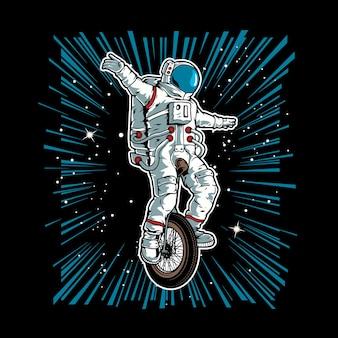 Astronauta andando de bicicleta monocromática