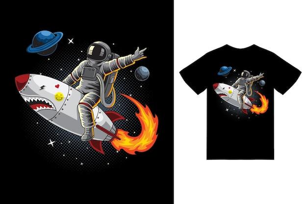 Astronauta andando de foguete na ilustração do espaço com vetor premium de design de camiseta