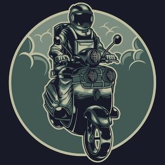 Astronauta andando de scooter na ilustração do espaço
