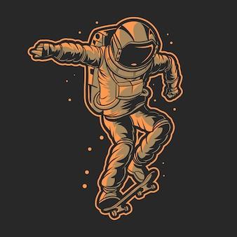 Astronauta andando de skate em vetor de ilustração espacial