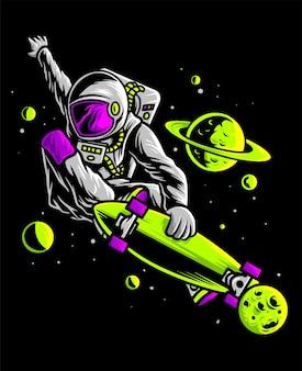 Astronauta andando de skate no espaço