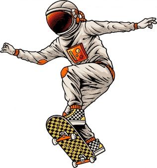 Astronauta andando de skate