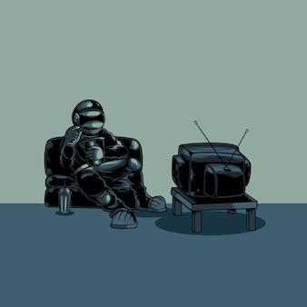 Astronauta assistindo programa de televisão
